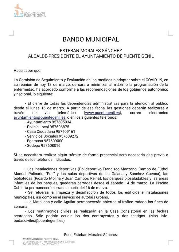 #CoronaVirus Cierre De Instalaciones Municipales.
